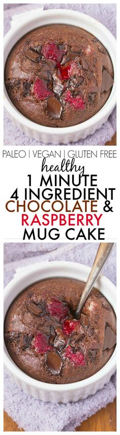 Healthy 4 Ingredient Chocolate and Raspberry Mug Cake ready in just ONE minute- NO flour, NO grains, NO refined sugar and NO oil/butter but amazing- Oven option too! {vegan, gluten free, paleo recipe}