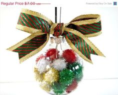 Tree Ornament Red Green Gold White Pompoms by PookieandJack, $4.20