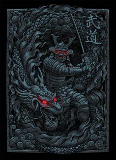 Showcase of Designs & Illustrations of Samurai Warriors Character Concept, Concept Art, Character Design, Kabuto Samurai, Dragon Wallpaper Iphone, Japanese Art Prints, Samurai Warrior, Skull Art, Illustration Art