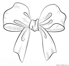 How to draw a bow   Step by step Drawing tutorials