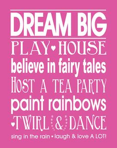 Girls Bedroom Quotes Dream Big AND Play Room by 7WondersDesign