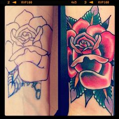 Cover up, Rose Tattoo,  Wrist, American Traditional, Gold Club Electric Tattoo, Nashville, AJ Lingerfeldt