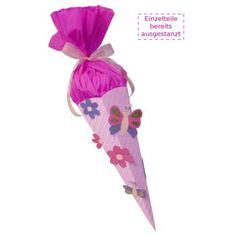 Schultüte Bastelset Schmetterling-Blume vorgestanzt, inkl. Schulstarterpaket GRATIS, Artikel demnächst lieferbar-Bastelshop für Hobby und Creative Freizeit