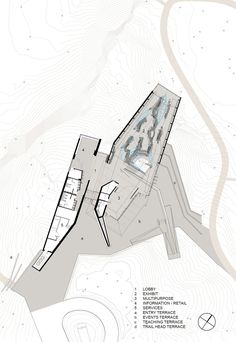 Gallery of French River Visitor Centre / Baird Sampson Neuert Architects - 12 Architecture Drawings, Architecture Plan, Architecture Visualization, Auditorium Architecture, Theater Plan, Exhibition Plan, Museum Plan, Tourist Center, Graduation Project