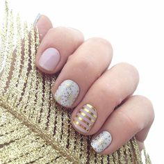 """My current mani.... Totally weather appropriate.  We are supposed to get 12-18"""" of snow this weekend.  At least my nails are cute. Haha!!! #jamberrynails #daydreamjn #champagnefrostjn #metallicgoldstripejn #wintermani #nailart #nailswag #instanails #notd #nailsofinstagram #fashion #style #snowflakes #neutral #gorgeous #nailjunkie"""