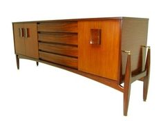 Mid Century Rocket legs Teak and Rosewood Credenza, Media console or TV stand