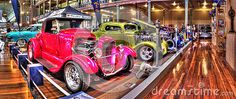 Custom painted hot rods on display at car show at the Royal Exhibition Building in Melbourne Australia
