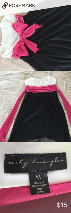 White, pink, and black strap or strapless dress A simple, cute dress from when I was younger. Does have damage, seemingly from a snag, on one of the ribbons, but when tied, does not show (as seen in cover picture.) City Triangles Dresses Midi
