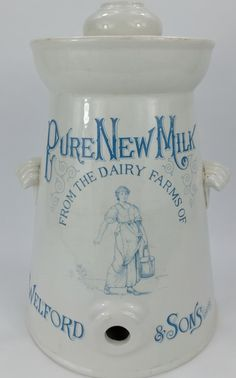 Very rare pottery milk churn for Welford & Sons London. Milk Pail, Milk Churn, Royal Doulton, Sons, Dairy, Miniatures, Pottery, China, Display