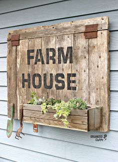Barn Door Sign/Planter Box with Old Sign Stencils organizedclutter.net
