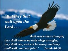 """But they that await upon the Lord shall renew their strength; they shall mount up with wings as eagles; they shall run, and not be weary; and they shall walk, and not faint."" Isa. 40: 31"