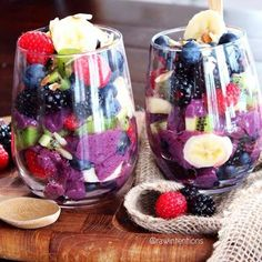 Delicious & Healthy Desert Fruity Parfait layered with Blackberry Banana Ice Cream Toss frozen bananas and fresh blackberries in the blender (VitaMix is best) and then layer with fresh organic fruit for a delicious fat free, dairy free ice cream .