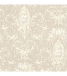 This warm, subtle taupe wallpaper romances your walls with a dreamy cameo fleur pattern, swirling elegant vintage imagery together with a chic linen texture. Unpasted Non-Woven Material21-in repeat an