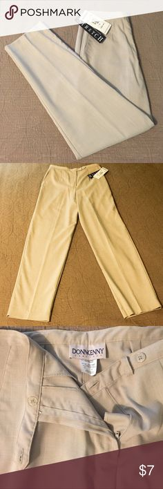 """Beige High-Waisted Dress Pants Light beige DonnKenny Classic dress pant.  NOTE: The size is a 12, but these pants are high waisted.  So please pay careful attention to the measurements to make sure they have the fit you're looking for:   14"""" rise (sits at waist, not hips),  29.5"""" inseam (hem can be let out another 1""""),  15.5"""" across at waist,  19""""-20"""" across at hips.   7.25"""" leg openings  55% polyester, 44% rayon, 1% spandex.  2 front pockets, no back pockets, no belt loops. Zipper and 2…"""