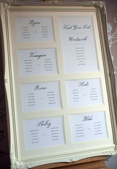 Wedding table plan with hand drawn calligraphy