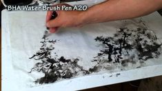 Angele's Point Landscape with Pine Trees - Free-style Chinese Brush Painting Demo with Henry Li