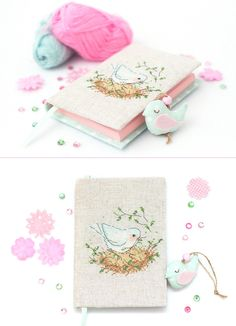 Mint bird Journal Romantic Handmade Diary Pink and Mint Pregnancy journal Shabby chic bird Wedding planner Embroidery covered Notebook (43.00 USD) by Spoolville