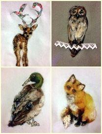 fox,duck,deer,owl illustration  needle felt  felt painting
