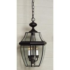 Home Decorators Collection Newbury 3-Light Mystic Black Outdoor Hanging Lantern-0685610230 - The Home Depot