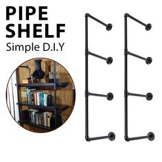 Bookshelf Brackets, Iron Pipe Shelves, Pipe Bookshelf, Pipe Shelf Brackets, Wall Mounted Bookshelves, Industrial Wall Shelves, Bookshelf Storage, Diy Shelving, Bookcases