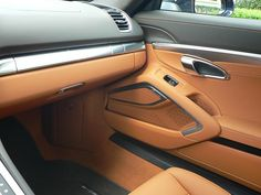 2014 981 Cayman S in DBM with Agate/Amber full leather, PDK. Elusive DH 981S DBM Agate and Amber driver area...  amber orange, tan beige black silver grey