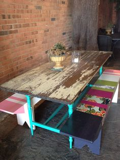 DIY table from old door for screened in porch