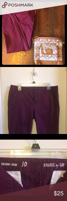 "Skinny Minnie Gap Khakis in Magenta These are so adorable! I loved these pants (until I couldn't fit into them!). Size 10: 17 1/2"" waist; 8"" rise; 26"" inseam. Fit like skinny jeans. Have khaki pockets on backside with functional front pockets. No tears: no piling---great condition! So cute with a huge sweater for fall or winter! GAP Pants Skinny"