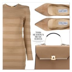 """Beige Motion"" by lucky-1990 ❤ liked on Polyvore featuring Balmain, Jimmy Choo and H&M"