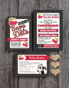 Retro Cherry Rockabilly Black And Red Polka Dot Wedding Invitation U0026 RSVP  With Envelopes
