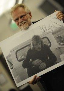 "Joe Herzanek displays ""before"" photo at Co. Springs Drug Court Graduation"