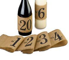Burlap table number wraps. Wine bottle wraps