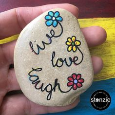 Rock Painting - Love Love Laugh