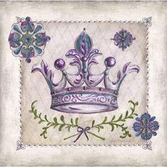 Art Print on Premium Semi-matte Photo Paper. Crown Painting, Crown Drawing, Decoupage Vintage, Vintage Paper, Shabby, Crown Royal, Mural Art, Vintage Pictures, Canvas Art