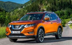 Download wallpapers Nissan X-Trail, 2018, SUV, facelift, new X-Trail, orange X-Trail, Japanese cars, Nissan