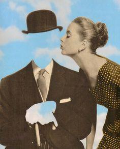 """Saatchi Online Artist Joe Webb; Assemblage / Collage, """"Kissing Magritte"""" #art"""