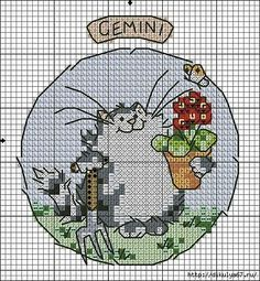 Вышивание крестиком, схемы котов