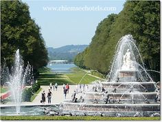 Herrenchiemsee Garden and Fountains, Herrenchiemsee castle located on the largest island in the lake - Herreninsel