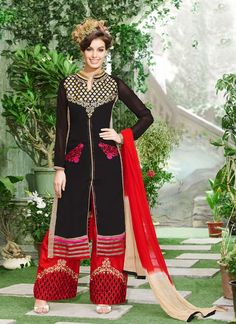 Be the sunshine of everybody's eyes dressed in this black georgette designer palazzo salwar suit. The ethnic embroidered and resham work with a dress adds a sign of elegance statement with a look. C...