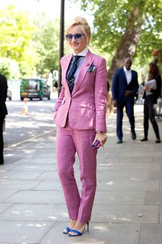Pink pantsuit + fun accessories