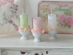 Dollhouse shabby candles. 1:12 dollhouse miniature candles. op Etsy, 3,50€