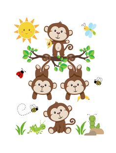 MONKEY WALL DECAL Nursery Baby Art Mural Stickers Decor Kids Safari Jungle Animals Room Neutral Shower Gift Decorations Hanging Swinging Monkeys
