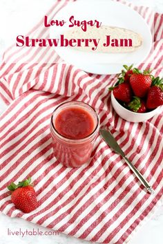Low-sugar homemade strawberry jam perfectly captures delicious summer strawberries in easy-to-make jam that you can enjoy all year long! (Gluten free, vegan) | Via LivelyTable.com @LivelyTable