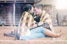 Cozy cabin engagement session