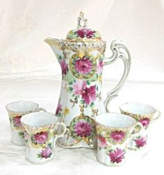Porcelain Hand Painted Hot Chocolate Pot with Four (4) cups