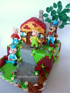 So many cakes: http://www.pinterest.com/templetonm/creative-cakes-and-cupcakes/ 3 little pigs cake