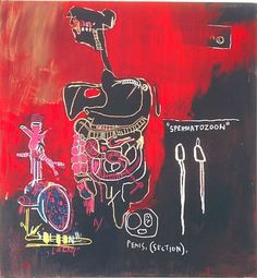 JEAN-MICHEL BASQUIAT Untitled (Spermatozoon), 1983 Acrylic and oilstick on canvas 66 x 60 inches (167.6 x 152.4 cm)