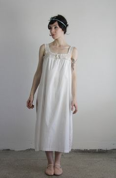 antique edwardian cotton slip