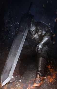 Knight with Ultra Greatsword (Dark Souls) - ? Fantasy Armor, Dark Fantasy Art, Medieval Fantasy, Dark Art, Medieval Knight, Arte Dark Souls, Dark Souls 2, Dark Souls Armor, Character Illustration