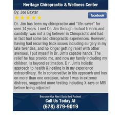 """Dr. Jim has been my chiropractor and """"life-saver"""" for over 14 years. I met Dr. Jim through..."""