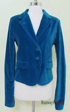 Euc ❤ LUCKY BRAND ❤ Women Misses Medium Blue Velvet Velveteen Stretch Blazer
